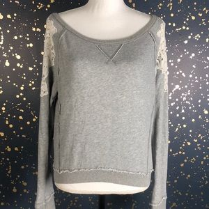 Free People Gray Crochet Lace Sleeve Sweatshirt